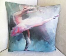 Ballerina Ballet Dancer White  Tutu Cotton Linen Blend Cushion Cover FREEPOST