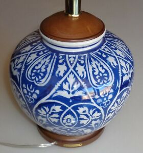 RALPH LAUREN LAMP PORCELAIN FLORAL MANDARIN BLUE WOOD BASE GINGER JAR NO SHADE