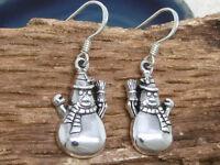 Schneemann 925 Silber Ohrringe Winter Weihnachten Ohrschmuck