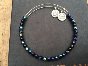 NEW ALEX and ANI MIDNIGHT ROCK CANDY Crystal BEADED SILVER Bangle BRACELET 💎