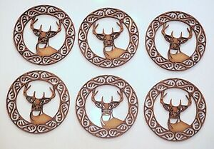 Wooden MDF Blank shape - Stag Head in Celtic circle - set of 6 items