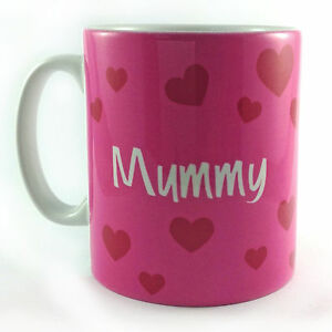 PINK HEART MUMMY MUM MOM MOTHER'S DAY GIFT PRESENT MUG CUP CAN BE PERSONALISED