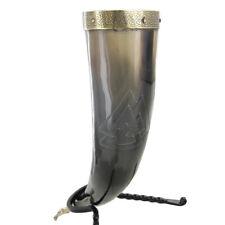 Medieval Unknown Warrior Valknut Viking Drinking Horn Renaissance Stand Set