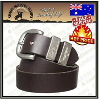 RM Williams Solid Leather Belt Chestnut/Silver 1 1/2in - RRP 119.99 - AUSTRALIAN