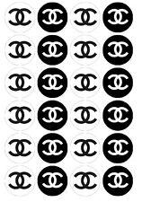 24 x CC Chanel Logo Designer Fahion Edible image cupcake toppers Pre-Cut