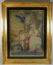Antique Pictorial Needlepoint in Gilt Wood and Eglomise Frame
