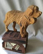 Vintage German Black Forest Brienz Wood Carving Figurine St Bernard Rescue Dog