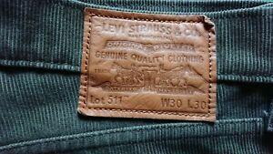 Levis 511 Premium Slim En Velours Côtelé Pantalon Couleur Olive Night