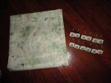 CROSCILL IVY CHERI BLUM GREEN PLUM FLORAL TUSCAN (13PC)  SHOWER CURTAIN & HOOKS