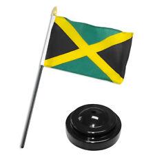 "Jamaica Jamaican 4""x6"" Flag Desk Set Table Stick Black Base"