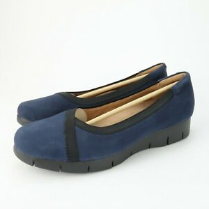 Clarks Daelyn Hill Navy Suede Slip On Wedge Comfort Loafer Shoes Size 7.5 W