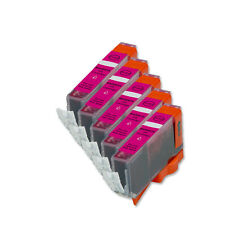 5 Magenta Ink Cartridge + smart chip for CLI-221 221 MP560 MP620 MP640 iP4600