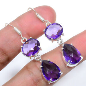 Faceted Amethyst - Brazil Handmade 925 Sterling Silver Jewelry Earring  VIE-573