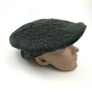 VINTAGE Cabbie Hat Cap Newsboy Size M - L Stretch Fit Gray Cable Knit Adult 90's