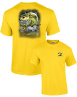 Fishing T Shirt Muskie Jumping Out of the Water 2 sides