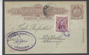 BOLIVIA: 1906,9,6 1c Postal Card (H&G 5) Cochabamba to Wulfrath, Germany.: .