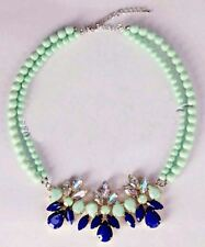 TWO STRAND TURQUOISE FAUX PEARL FACETED BEAD AND CRYSTAL NECKLACE