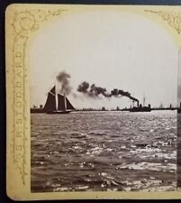 1860s New York City from Pier 30 Hudson River Steamboat Sailboat 4x7 Stereoview