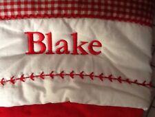 """NEW """"BLAKE"""" Pottery Barn Kids Snowflake Velvet Christmas Stocking Red/White. PBK"""