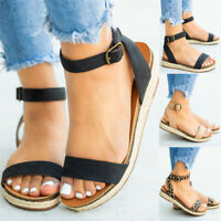 Womens Low Wedge Heel Espadrilles Ladies Summer Platform Ankle Strap Sandals New