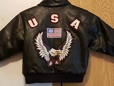 Boys Biker/Motorcycle Jacket Patriotic Usa Flag Eagle- Simulated Leather Size 6T