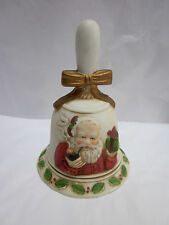 Flambro Santa with Pipe Ceramic Christmas Bell Taiwan
