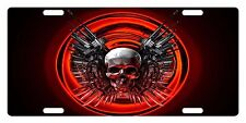 SKULL Custom License Plate BONES Emblem WEAPONS RED Version