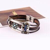 Boho Punk Women Man Flower Cuff Bracelets Bangle Multilayer Leather Handmade New