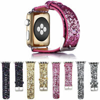 For Apple Watch Band iWatch Leather Glitter Wrist Strap Bling Series 6 5 4 3 2 1
