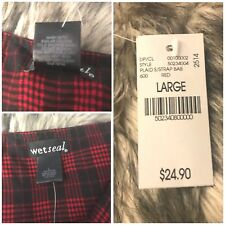 Wet Seal  Shorts Romper Red/Black Plaid Print