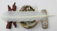 Full Smudge Kit Large Abalone Shell Tripod Stand Sage Stick Feather Directions!