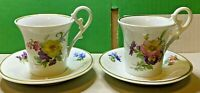 Kaiser-2x Espresso Cup w/ Plate-Porcelain China-Hand Painted-Coffee-Vintage