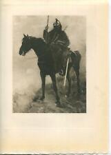 ANTIQUE BLACK EQUESTRIAN HORSE SOLDIER DRAGOON BRITISH MAN SWORD RIFLE ART PRINT