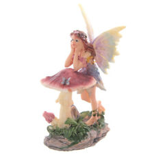 Blumenfee auf Gartenpilz stützend Elfe Fee Figur Figuren Fantasy - Version IV