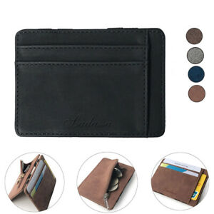 Men's Faux Leather Thin Wallet Credit Card ID Holder Purse with With Pocket