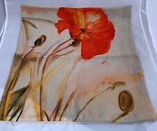 Red Flower Pillow Cover 17.5 x 17.5 Inches