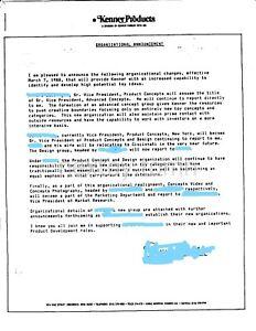 KENNER LETTERHEAD Organization Memo PRODUCT CONCEPTS 1988 Cincinnati Employee
