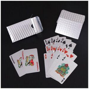 Waterproof Plastic Play Cards Poker Foil Silver Set