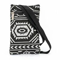 Black White Abstract Small Side Cross Body Messenger Shoulder Bag Accessories