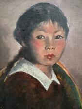 Old Vintage Oil Painting Impressionist Art Portrait Chinese Girl Child Asian