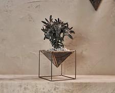 1 Geometric Brass Glass Planter on Stand, Succulent Cacti Plant Pot Nkuku Karana