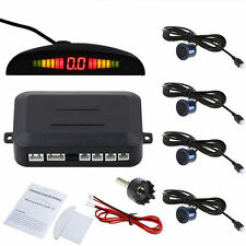 4 Parking Sensor Car Reverse Backup Rear Radar System Kit LED Sound Alert Alarm@