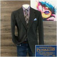 Vintage Pendleton Mens Sport Coat Blazer Size 44L Wool Jacket 3 Button Tweed