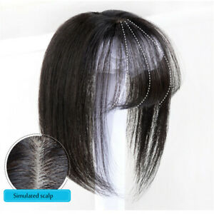 100% Human Hair Topper Hairpiece Silk Straight With Flat Bang Cover Loss Hair
