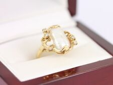 Diamond and Baroque Pearl Ring 14K Gold Ladies Stunning Size I 1/2 585 3.3g BA4