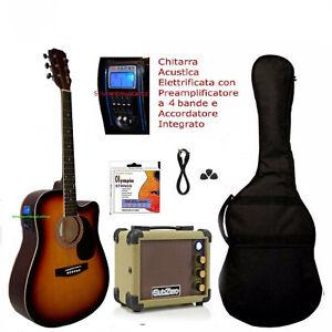 """Chitarra Acustica Elettrificata Sunburst 41"""" con Amplificatore Kit Completo"""