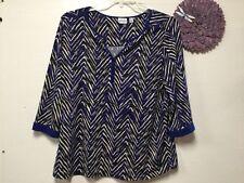 Womens pullover blouse size 2X blue white black geometric Kim Rogers Woman 177