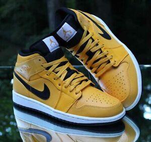 Nike Air Jordan 1 Retro Mid University Gold Men's Size 10 Black White 554724-700