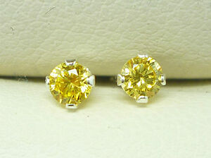 925 STERLING SILVER EARRINGS STUD ROUND 3MM CITRINE CREATED YELLOW STONE