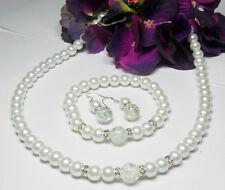 ***Traumhaftes*** Perlen Schmuckset  weiß 43cm Straß /  Crackle Perle 925 Silber